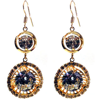 Femza GoldPlatedEarrings DiamondCutStone Code42a Western