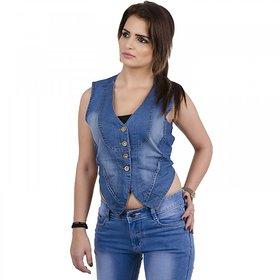 Klick2Style Blue Denim Shrug For Women