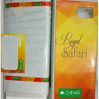 Chinar Off-White Cotton Blend Unstitched Safari Suit Piece