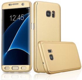 iPAKY360 Degree Full Protection Front Back Cover Case with Tempered Glass For Samsung Galaxy J5 Prime Gold Color