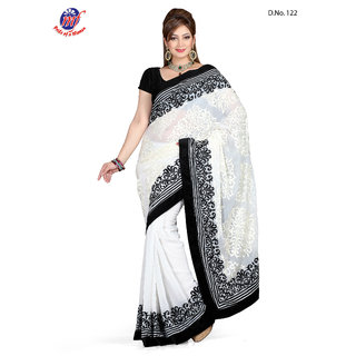 INDIAN BOLLYWOOD DESIGNER Chiffon White SAREE & BLOUSE Velvet BLACK 122