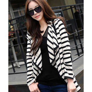 Cardigans wild mixed colors Women White Black Striped Cotton Blouse Jacket Top