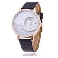 Round Dial Black Leather Strap Women Quartz Watch BY MI