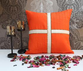ANS Orange  cushion cover with criss cross brocade patti.