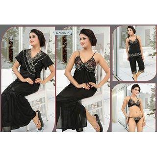 e4aeb5e63b Buy Womens Nightwear 6pc Bra Panty Top Capri Nighty Over Coat 621A Black Sleep  Set daily Butterflies Bed Dress Online - Get 0% Off