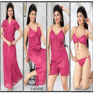 0b91c3b817 Womens Sleepwear 6pc 615C Hot Sleep Wear 6pc Bra Panty Top Shorts Nighty  Robe Night Set