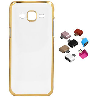 Electroplated Golden Chrome Soft TPU Cover for Samsung Galaxy J1 2016 with Micro USB OTG Adaptor