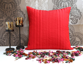 ANS Red uneven quilted cushion cover