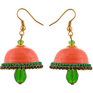 Little Jaipur Non Plated Orange Paper Jhumka For Women's