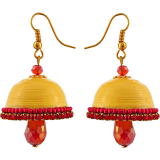 Little Jaipur Non Plated Yellow Paper Jhumka For Women's