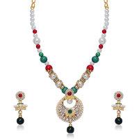 Soha Fashion by JewelMaze Zinc Alloy Gold Plated Multicolour Austrian Stone Beads Necklace Set-FAF0244