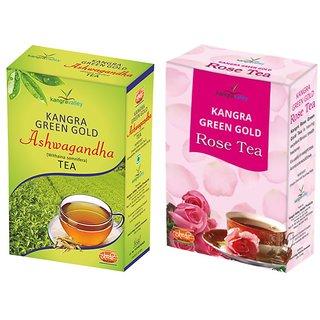 Ashwagandha Tea + Rose Green Tea - Pack of 2