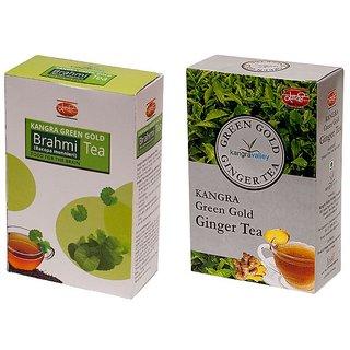 Brahmi Tea + Ginger Green Tea - Pack of 2