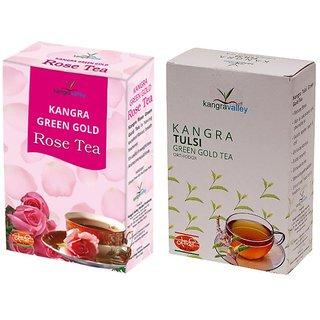 Rose Tea + Tulsi Green Tea - Pack of 2