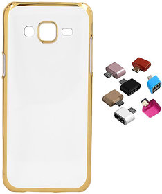 Electroplated Golden Chrome Soft TPU Cover for Coolpad Mega 25D with Micro USB OTG Adaptor