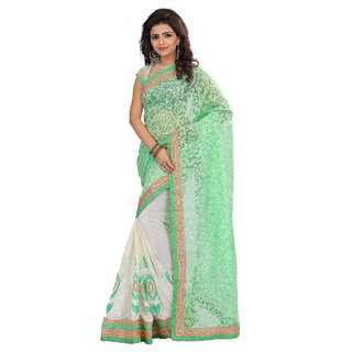 Madhav Retail Green Georgette Embroidered Saree