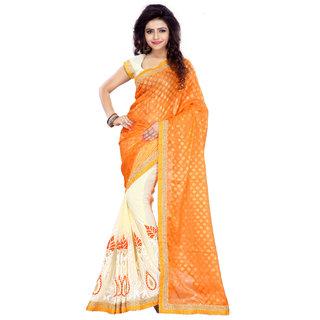 Madhav Retail Orange Georgette Embroidered Saree