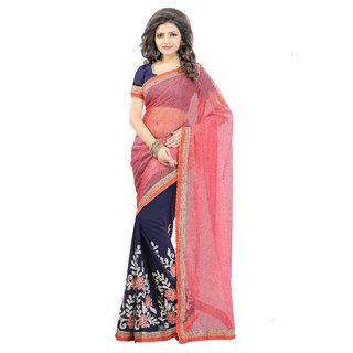 Madhav Retail Pink Georgette Embroidered Saree