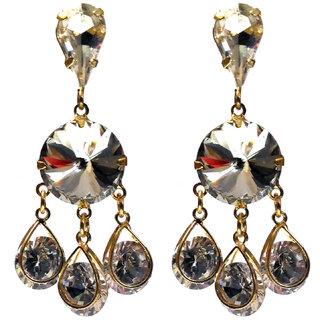 Femza GoldPlated Earrings CagedDiamondCutStone Code46c Western