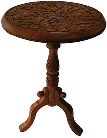 Wooden FOLDING TABLE Side Telephone STOOL Carved Home Office Decor Handicraft