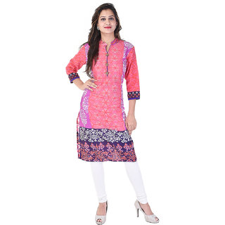 A&K Pink Printed Cotton Kurti For Women