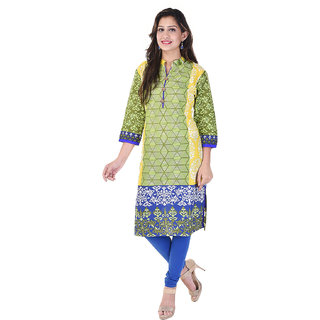 A&K Green Printed Cotton Kurti For Women