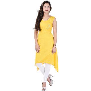 A&K Yellow Printed Rayon Kurti For Women