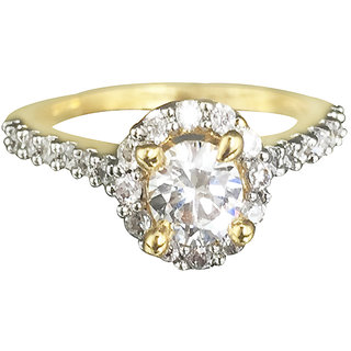 Tuan Remarkable Solitaire Alloy Cubic Zirconia (CZ) diamond gold ring
