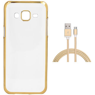 Electroplated Golden Chrome Soft TPU Cover with Golden Nylon Micro USB Cable for Samsung Galaxy J7 Prime