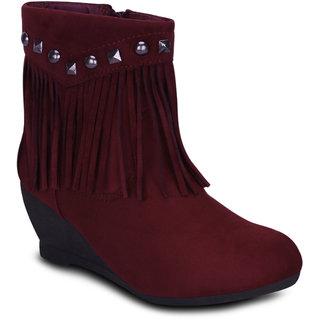 Kielz Women Maroon Zip Boots