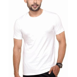 Men's Round Neck Plain T-Shirt White Color