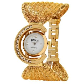 5Star Online Round Dial Gold Analog Watch For Women
