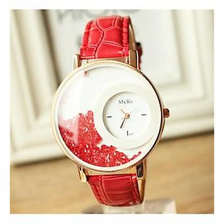 5Star Online Round Dial Red Analog Watch For Women