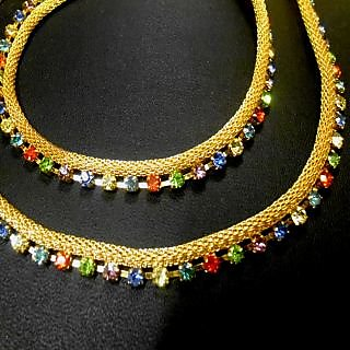 Sparkling Multi Color Gold And Silver Plated Pair Of Anklet