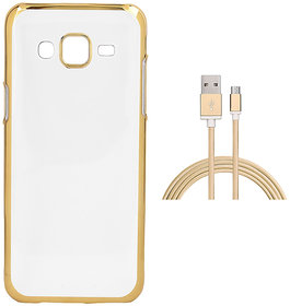 Electroplated Golden Chrome Soft TPU Cover with Golden Nylon Micro USB Cable for Coolpad Mega 25D