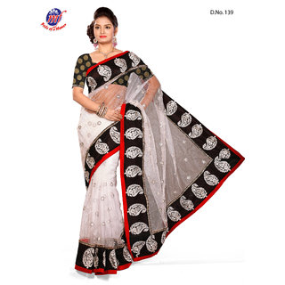 INDIAN BOLLYWOOD DESIGNER Nett White SAREE & BLOUSE Chanderi Butty BLACK 139