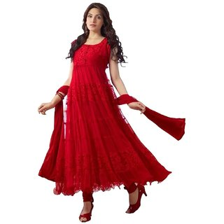 Red Cotton Unstitched Self Design Anarkali Suits