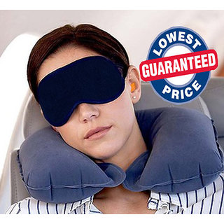 3in1 Travel Set-Air Neck Pillow Cushion Car-EYE MASK Sleep Rest Shade-Ear Plugs