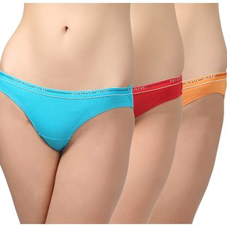 Bodycare BODYCARE Pack of 3 Bikini Style Cotton Briefs in Turquoise-Red-Orange Colour with Broad elastic band