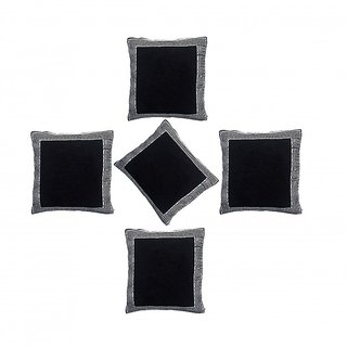 ACASA designed OP-Black Jacquard Woven Cushion Cover for Sofa, Bed, Pillow Case Set of 5 Pc