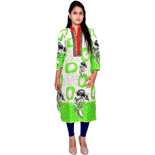 Raima Printed Green  Beige Cotton Straight Kurti