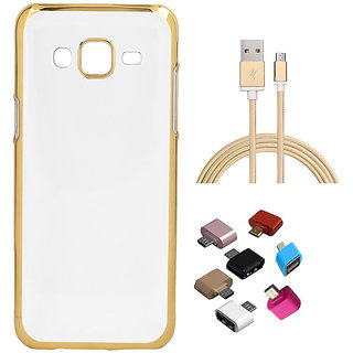 Golden Chrome Soft TPU Cover and Golden Nylon USB Cable and Micro USB OTG Adaptor for HTC Desire 526