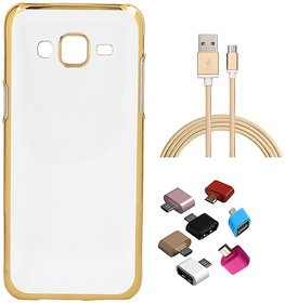 Golden Chrome Soft TPU Cover and Golden Nylon USB Cable and Micro USB OTG Adaptor for Coolpad Mega 25D