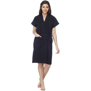 Vixenwrap Jet Black Solid Bath Robe