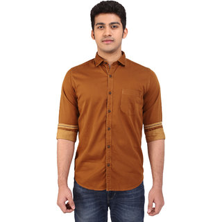 Warewell Men's Slim Fit Pure Cotton Brown Shirt