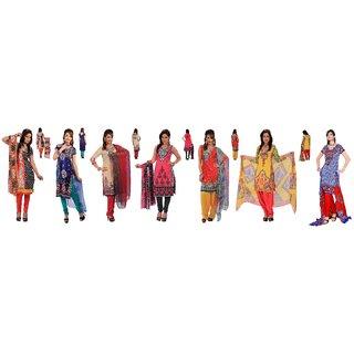 7 piece ready to stitch ethnic wear salwar,kurtisand duppatta material (Unstitched)
