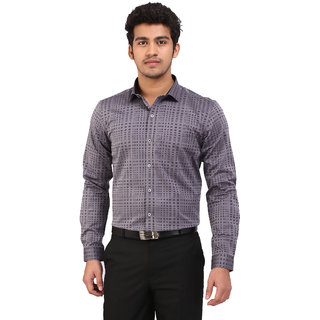 Warewell Men's Slim Fit Pure Cotton Grey Shirt