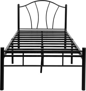 FurnitureKraft 2181 Single Size Bed (Glossy Finish, Black)