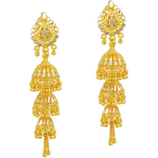 Memoir Gold Brass & Copper Gold Plated Jhumkis For Women