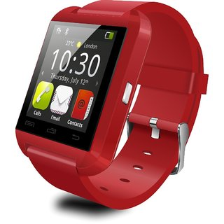 Bluetooth Smartwatch U8 Red With Apps Compatible with Intex Aqua Power Plus